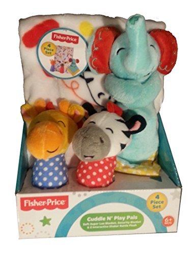 Fisher Price Cuddle N Play Pals - Elephant, Zebra & Giraffe - 4 Piece Gift Set