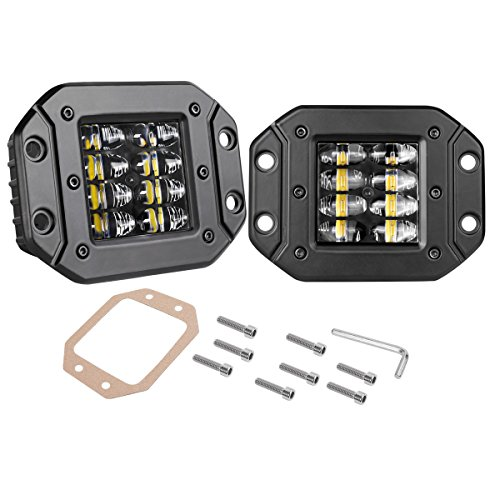 Flush Mount LED Pods, Swatow Industries 2PCS 48W Spot Flood Combo Off Road LED Pods Flush Driving lights Work Lights for Truck 4x4 SUV Jeep - 2 Years Warranty ()