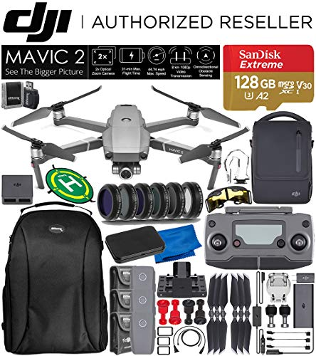 DJI Mavic 2 Zoom Drone Quadcopter with 24-48mm Optical Zoom Camera and SanDisk Extreme 128GB MicroSDXC Memory Card with Fly More Combo Kit Essential Bundle