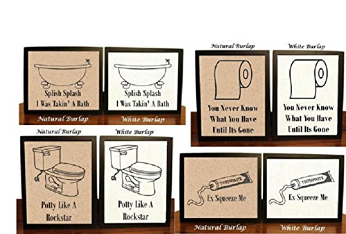 Set Of 4 Bathroom Wall Decor, Funny Bathroom Signs, Bathroom Art, Bathroom  Wall