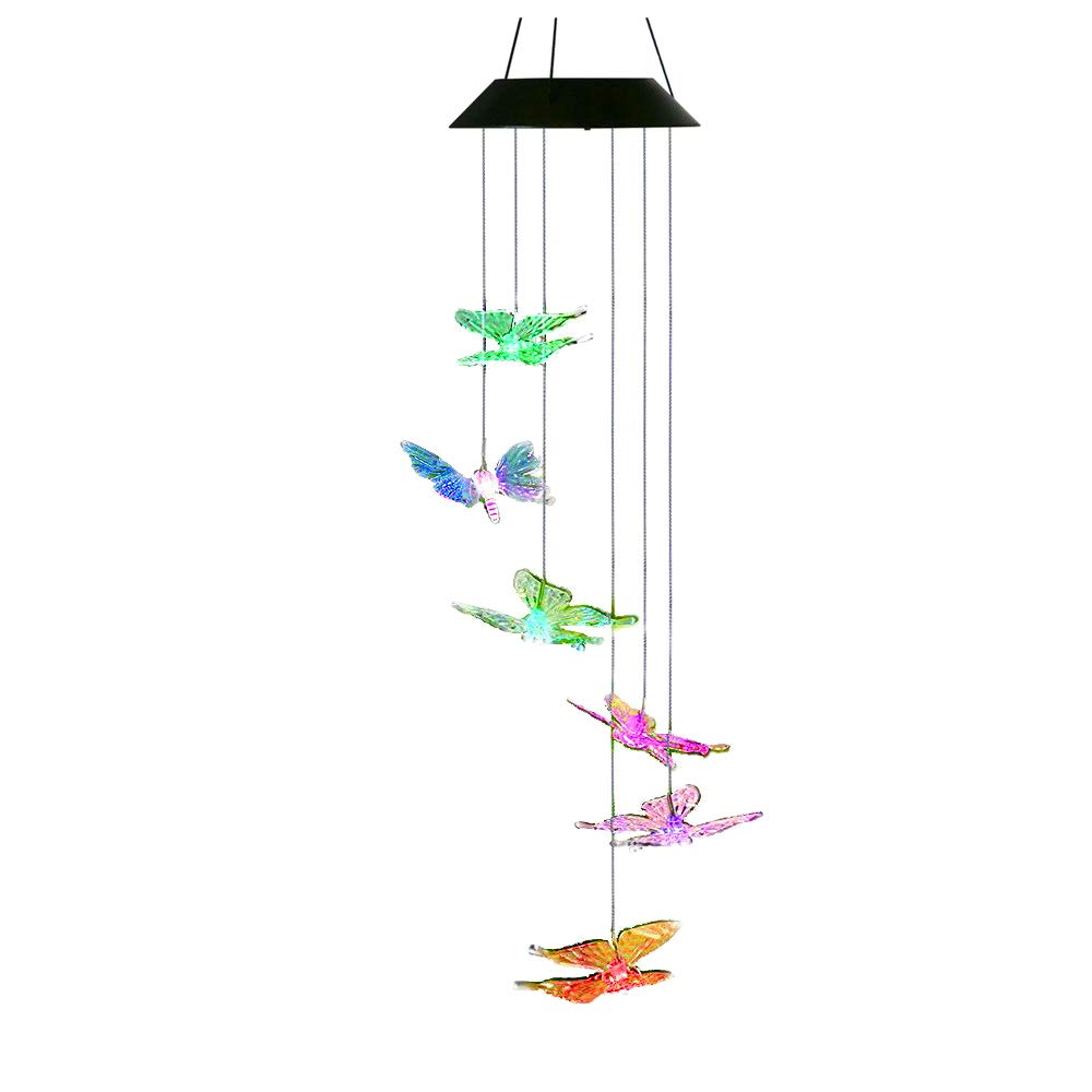 AceList Changing Color Butterfly Wind Chime, Spiral Spinner Windchime Portable Outdoor Decorative Solar Light for Patio Deck Yard Garden Home Pathway