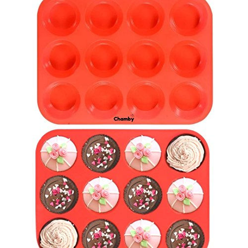 12 Cup Silicone Muffin Quiche Pan - Cupcake Baking Pan/Cake Mold/Nonstick Silicone Mold/Easy to Clean, Non Toxic Bakeware, BPA Free Dishwasher & Microwave Safe by Chamby (Red)
