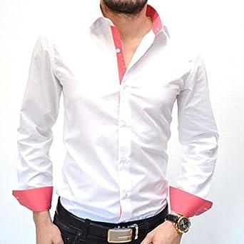 IRMAO Camisa para hombre blanca y rosa Slim Fit Rosa Rose: Amazon.es: Ropa y accesorios