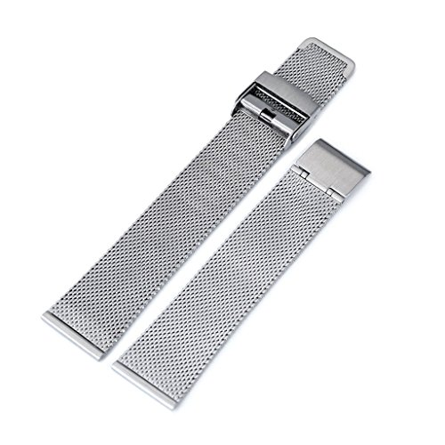 18mm Classic Vintage Knitted Superfine Wire Mesh Watch Band, Brushed by MiLTAT (Image #2)