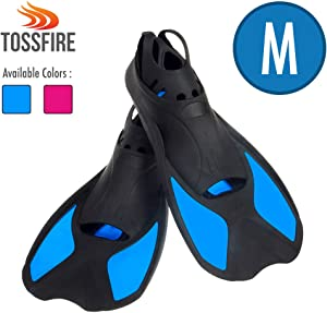 Comfecto Flippers Fins Short Floating Training Swimming Fins Adults for Size M Ankle Width 2.9 Inch Thermoplastic Rubber Travel Fins for Diving Swimming Scuba Snorkeling and Watersports, Blue
