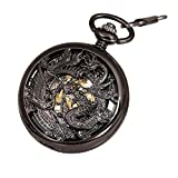 Antique Mechanical Pocket Watch Phoenix & Dragon Hollow Case Skeleton Dial with Chain + Gift Box