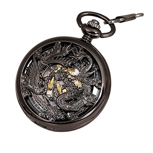 Antique Mechanical Pocket Watch Phoenix & Dragon Hollow Case Skeleton Dial with Chain + Gift Box by ielego
