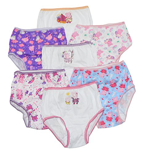 Peppa Pig Little Big Girls Bikini Panties Pack of 7 Underwear Size 8, Assorted (Frozen Underwear Size 8)