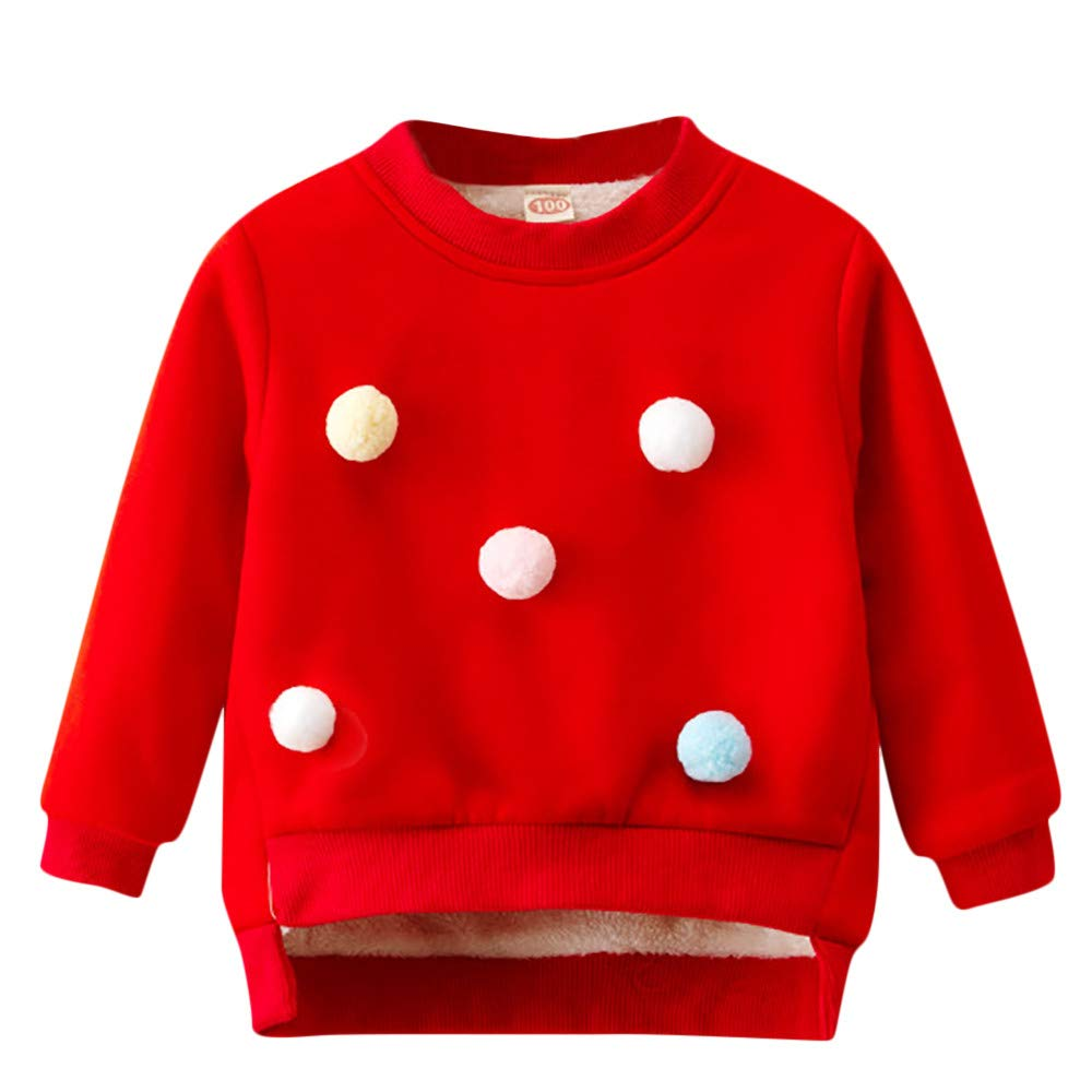 Longra® Baby Girls Sweatshirt, Long Sleeve Solid Tops Tops Warm Clothes Outfits for 0-5 Years