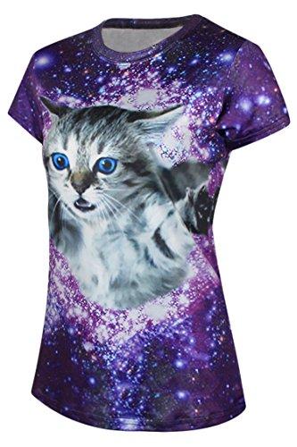 Pink Queen Women's Galaxy Cat Short Sleeve Purple Summer Shirts