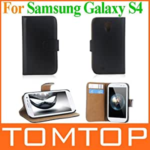 Fashion Wallet Case Elegant Artificial Leather Flip Case Cover stand holder for Samsung Galaxy S4 S IV i9500 i9505 Free Shipping --- Color:Black