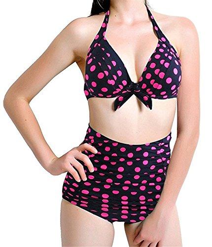 Blue sail Comfortable Fashion ColorHigh Waist SwimwearWomen 2 Pieces Bikini Set Swimsuit, (USXL)=XXL, RosePolkaBlackBikini (Jeans Sims 2)