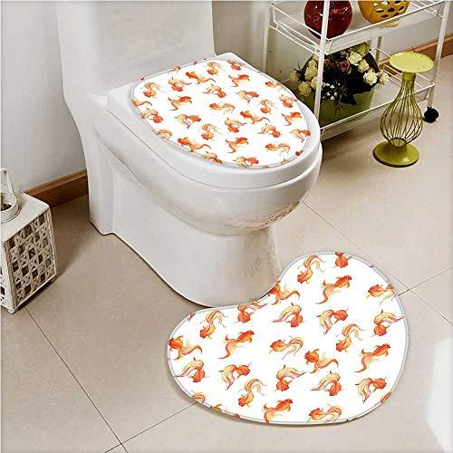 (aolankaili Non Slip Bath Shower Heart Shaped Foot pad GMotifs Freshwater Aquarium Crucian Carp s Print Orange White 2 Pieces Microfiber Soft)