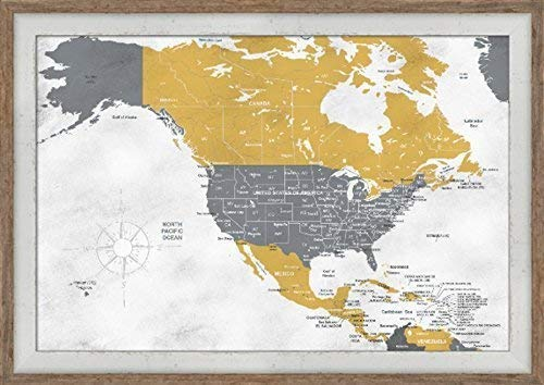 Amazon Com Map Of Usa Push Pin Framed Map Includes Caribbean