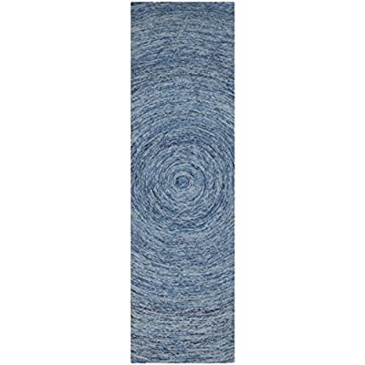 """Safavieh Ikat Collection IKT633A Handmade Dark Blue and Multi Premium Wool Runner (2'3"""" x 8') - The handmade construction adds durability to this rug, ensuring it will be a favorite for many years. This rug is made of 100% premium wool pile The contemporary style of this rug's modern pattern will give your room a contemporary accent - runner-rugs, entryway-furniture-decor, entryway-laundry-room - 51O0wBhRnWL. SS400  -"""