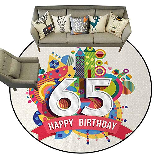 - 65th Birthday,Slip-Resistant Washable Entrance Doormat D54 Festive Composition with Colorful Figures and Celebratory Label Image Print Silky Smooth Bedroom Mats Multicolor