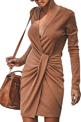 r Dress Long Sleeve Sexy V Neck Wrap Belted Batwing Long Sleeve Slim Rib Knitted Twist Mini Fall Winter Sweater Dresses for Women (Brown - L) ()