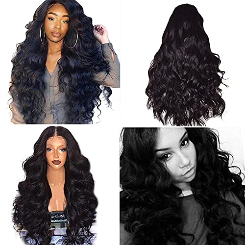 Women Long Curly Wavy Hair, Full Party Costume Wigs, Heat Resistant Black Periwig (Black, OneSize)