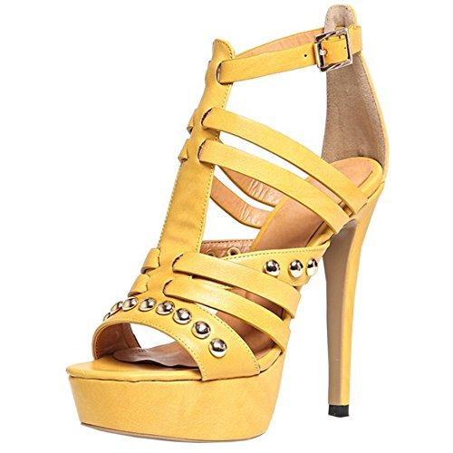 Chaussures Aiguille Talons Gladiateur Femmes 893 Ete Classique Sandales Hauts TAOFFEN Ouvert Jaune Bout Creux qH1AP461wW