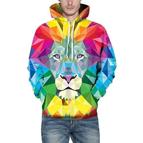 Mens Sweatshirt,Realdo Fashion Casual Autumn Winter 3D Print Comfy Caps Skin Hoodie Tops Blouse(Large/X-Large,Colorful Lion)