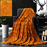 Unique Custom Double Sides Print Flannel Blankets Modern Decor Golden Color Mosaic Geometric Design With Mirror Like Artwork Orange Super Soft Blanketry for Bed Couch, Throw Blanket 50 x 60 Inches