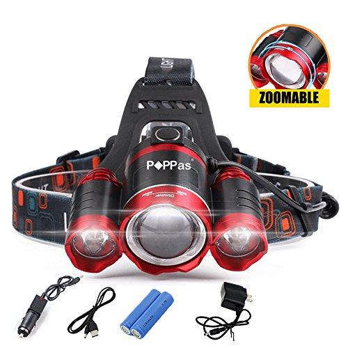 (12000 Lumen Headlight LED CREE XML 3T6 Zoom Headlamp X900 Flashlight Torch Head Lights Lamp +218650 Battery+AC/Car/USB Charger (Option C))