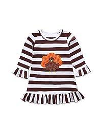 Lavany Thanksgiving Toddler Baby Girls Turkey Print Dress Stripe Sundress Outfits