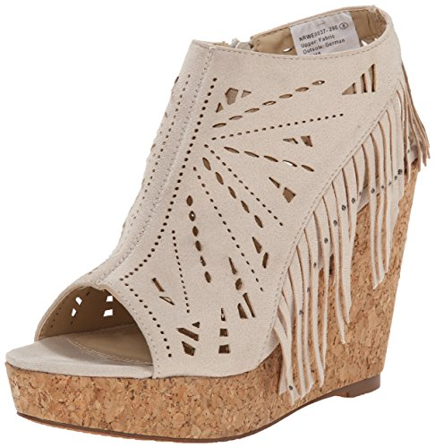Fringe Shoes (Not Rated Women's Fringe Delight Wedge Sandal, Cream, 8 M US)