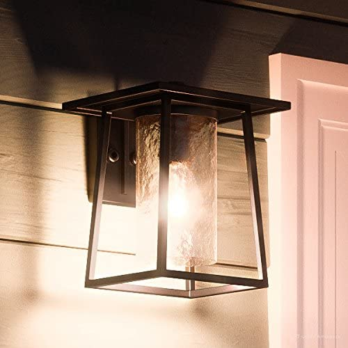 Luxury Craftsman Outdoor Wall Light, Small Size 10.5 H x 8 W, with Industrial Style Elements, Cube-Like Showcase Design, High-End Black Silk Finish and Hammered Glass, UQL1091 by Urban Ambiance