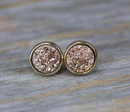 Simple Earrings Gemstone (Rose Druzy Stud Earring Champagne Druzy Quartz Gemstone Earring 8mm)