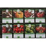Heirloom Tomato Seeds Assortment - Eight Organic and Non-GMO Varieties: Brandywine, Cherokee Purple, Black Krim, Green Zebra, Amish Paste, Japanese Black Trifele, Yellow Brandywine, Matt's Wild Cherry