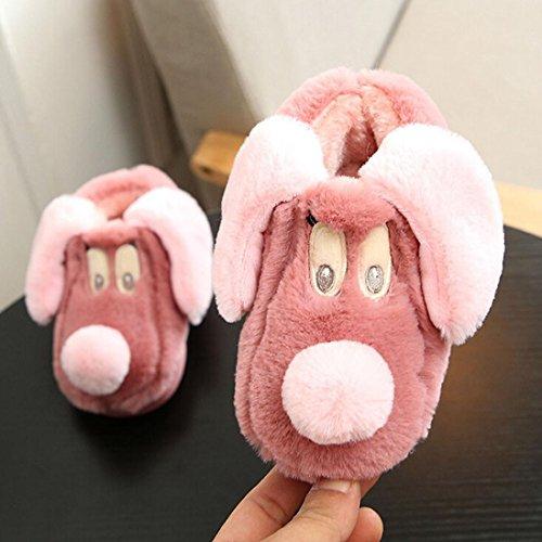 Pulison (tm) Inverno Bambini Pantofole Ragazzi Ragazze Cotone Pecore Bambini Al Coperto Scarpe Calde Rosso Anguria