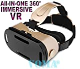 3D VR Glasses, 360 Degree Viewing VR Virtual Reality Headset 3D Movie Game Box For iPhone 7 Plus/7/6s/6 Plus/6 Samsung S8 Plus/S8/S7/S6/Note8/Note7/Note6 And Other 4.7'-6.0' Smartphones Gold