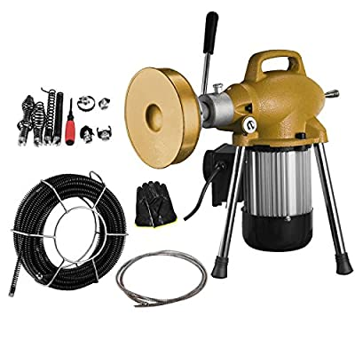 "OrangeA Snake Sewer Pipe Drain Cleaning Machine 3/4"" - 4"" Dia Sectional Pipe Drain Cleaning Machine with Cables Pipe Drain Cleaning Machine Aluminum Alloy Frame"