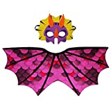 Kids Dinosaur Wings Costume with Felt Mask Dragon Cape Accessory-Boys Girls Pretend Play Dress up Party Games(Rose)