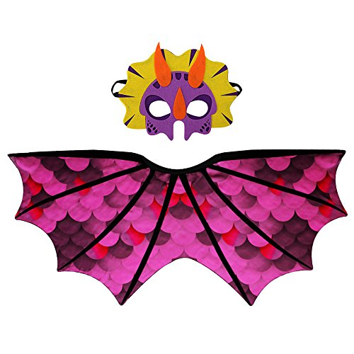 Toddler Kids Dinosaur Wings Costume Cape and Mask for Boys Girls Dragon Dress Up Party Games(Rose) -