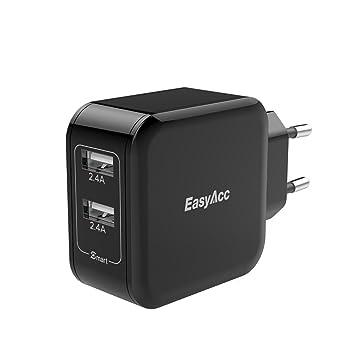 EasyAcc Cargador de Pared con 2 Puertos USB 5V 2.4A x 2 USB Adaptador de Corriente 24W Carga Rápida Enchufe Europeo Negro