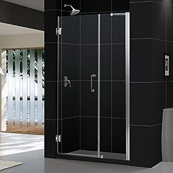 DreamLine Unidoor 41-42 in. Width, Frameless Hinged Shower Door, 3 ...