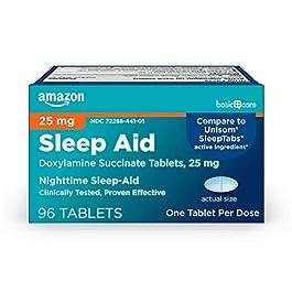 Amazon Basic Care Sleep Aid Tablets, Doxylamine Succinate Tablets, 25 mg, Nighttime Sleep Aid to Help You Fall Asleep…