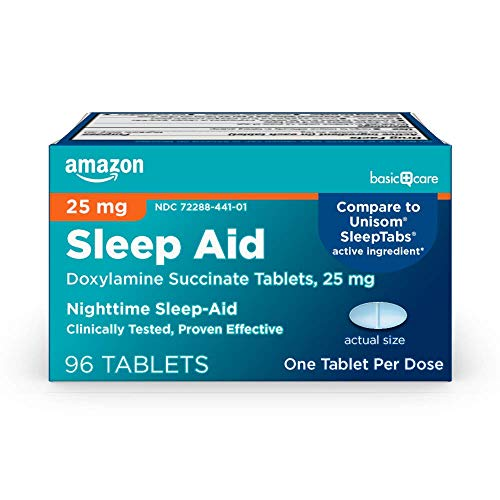 Amazon Basic Care Sleep Aid Tablets, Doxylamine Succinate Tablets, 25 mg, Nighttime Sleep Aid to Help You Fall Asleep…