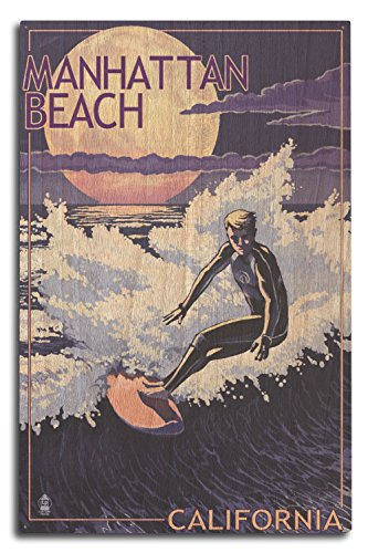 Lantern Press Manhattan Beach, California - Night Surfer (10x15 Wood Wall Sign, Wall Decor Ready to Hang)