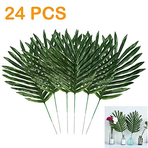 HLDL 24 Pcs Palm Leaves with Stems Artificial Tropical Leaves Faux Leaves for Hawaiian Luau Tiki Aloha Baby Shower Jungle Beach Birthday Parties,Room Table Leave Decorations