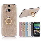 HTC One M8 Stand Case,Gostyle Bling Glitter Clear Ultra Slim Cover,Soft TPU Silicone with Ring Holder Anti-Scratch Shockproof Protective Cover for HTC One M8,Golden