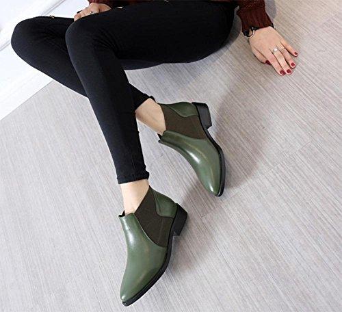 stivali scarpe army donna e sottolineato femminili green basse Autumn stivali Primavera Martin 8TwXIv