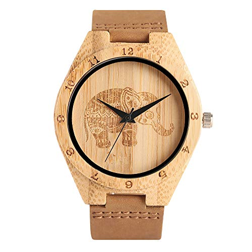 Wooden Watch for Men, Creative Bamboo Natural Wood Watch, Elephant/Annual-Rings Japanese Quartz Movement Analog Genuine Leather Band (Brown 2) (Annual Elephant)