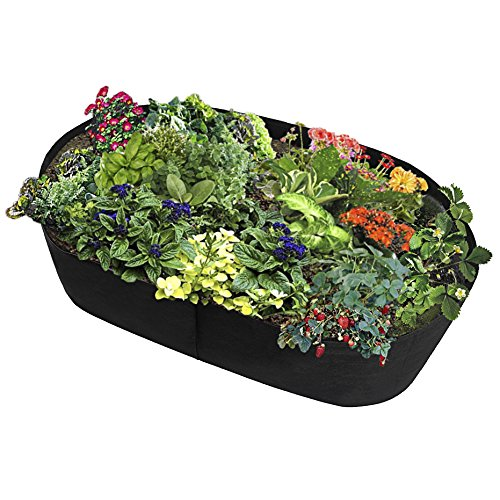 (Fabric Raised Planting Bed, Garden Grow Bags Herb Flower Vegetable Plants Bed Rectangle Planter 2'x4')