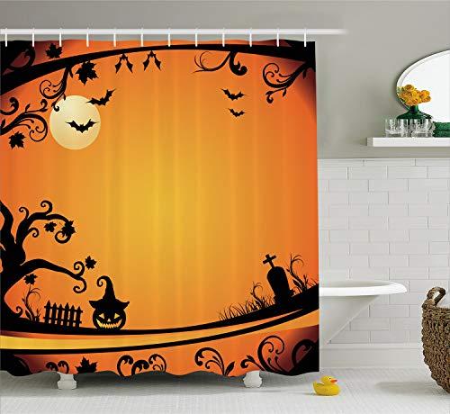 Ambesonne Vintage Halloween Shower Curtain, Halloween Themed Image Eerie Atmosphere Gravestone Evil Pumpkin Moon, Fabric Bathroom Decor Set with Hooks, 84 inches Extra Long, Orange Black -