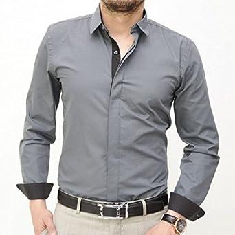 IRMAO Camisa para hombre gris Gris gris: Amazon.es: Ropa y accesorios