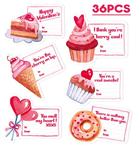 36Ct Valentine Cards for Kids - Valentine's Day Party Supplies Favors -
