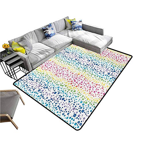 Rug Bathroom Mat Modern,Rainbow Colored Ombre Bubbles and Rounds Circles in Wavy Shape Line Art Print Image,Multicolor 80